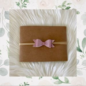 👑Pink Shimmery Leather Bow on Nylon or Clip In!